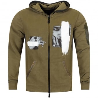 RH45 Seductive Woman Khaki Green Zip Through Hoodie