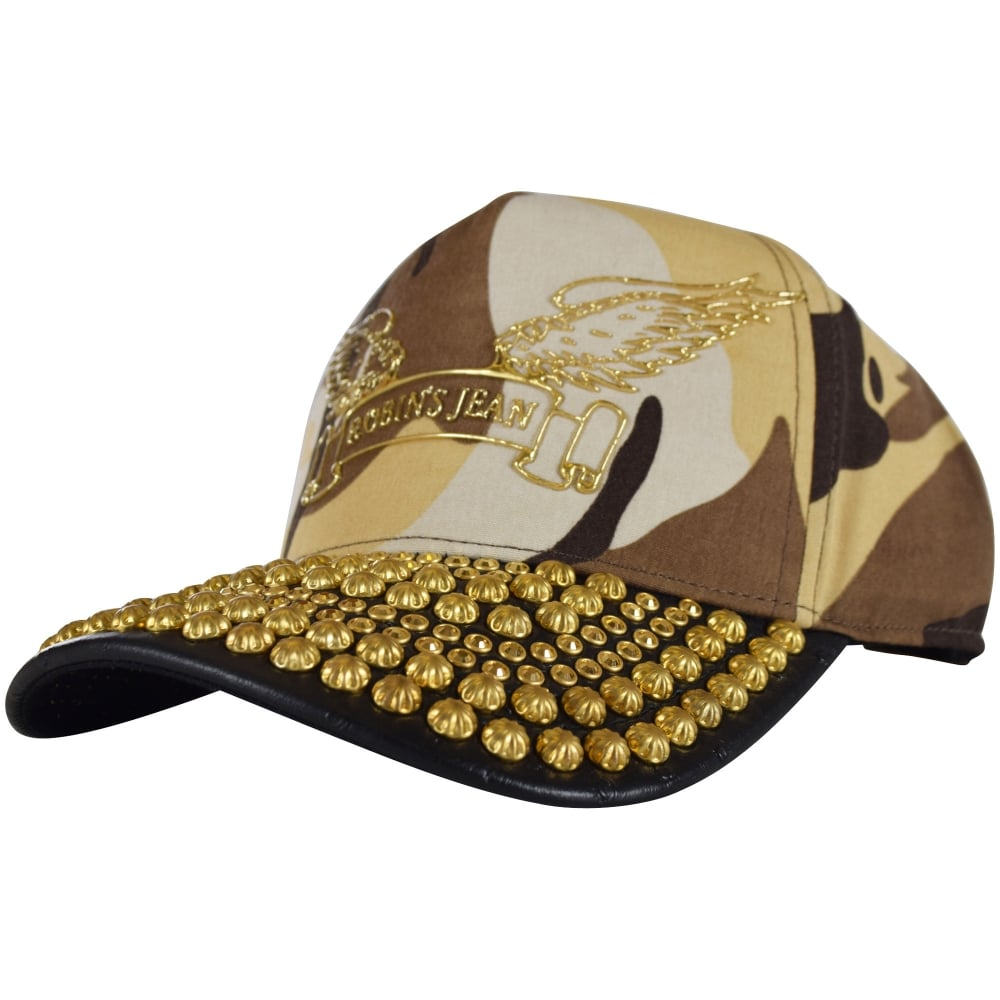 ROBINS JEANS Robins Jeans Brown Camo Studded Snapback - Men from ... 13402ad7057