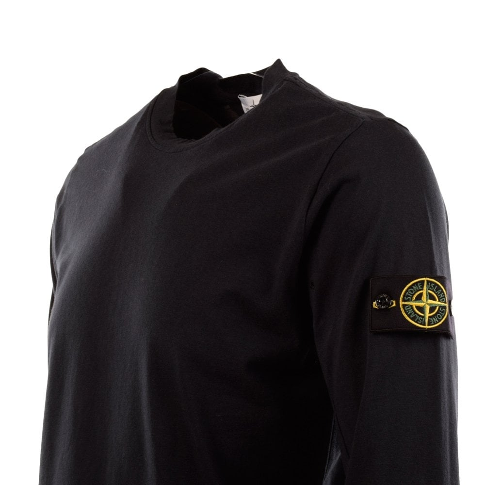 94c34a02 STONE ISLAND Stone Island Black Casual Crew Neck Long Sleeve T-Shirt ...