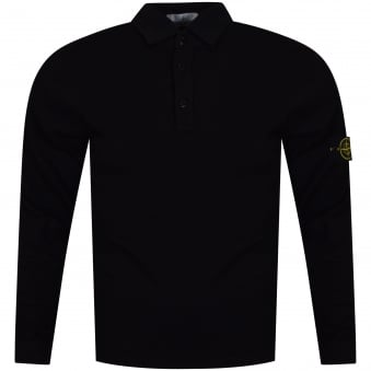 Stone Island Black Classic Compass Long Sleeve Polo Shirt
