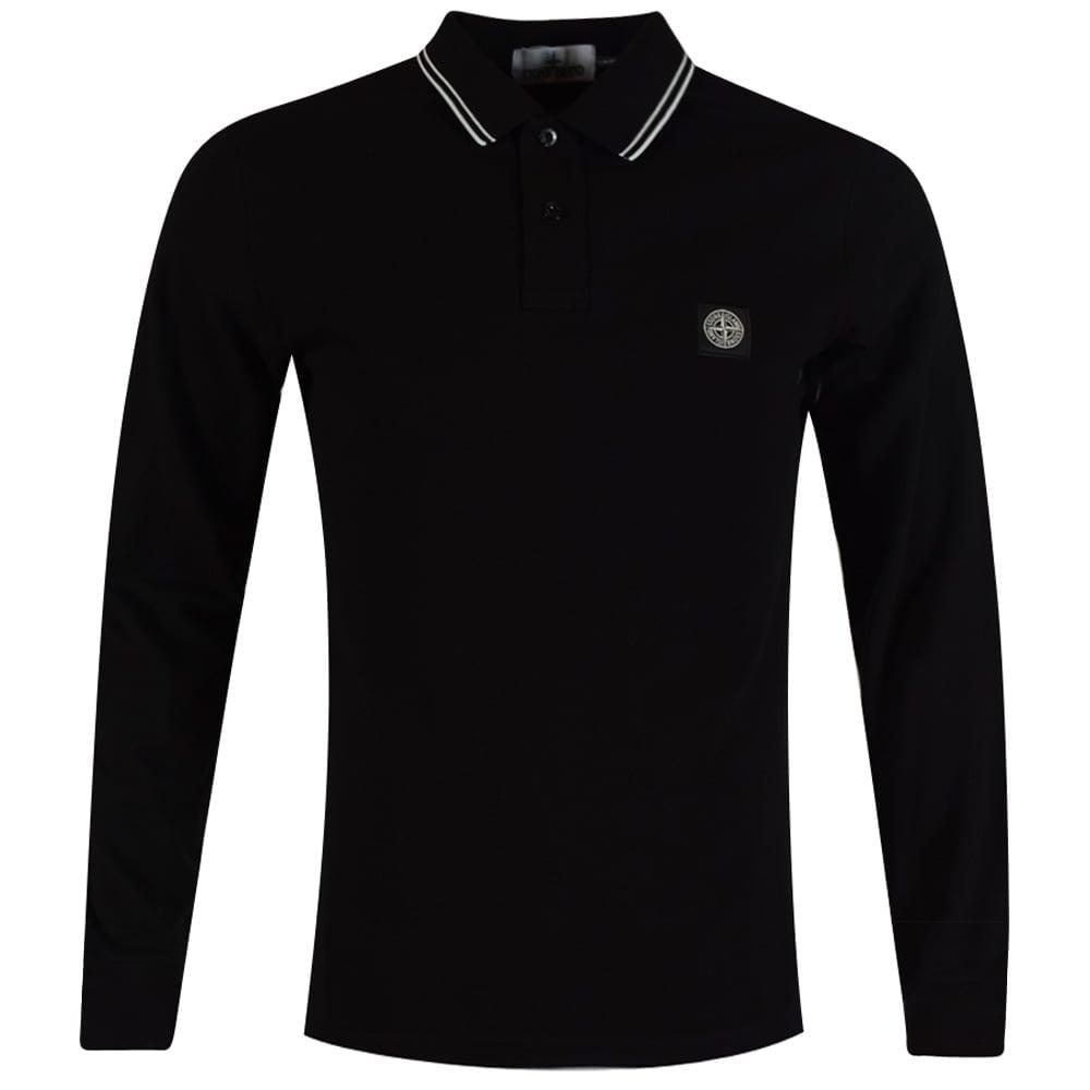 90ac0f47 STONE ISLAND Stone Island Black Compass Longsleeve Polo Shirt ...