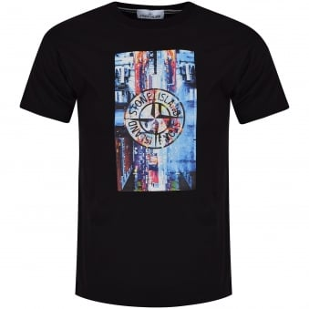 Stone Island Black Digital Print T-Shirt