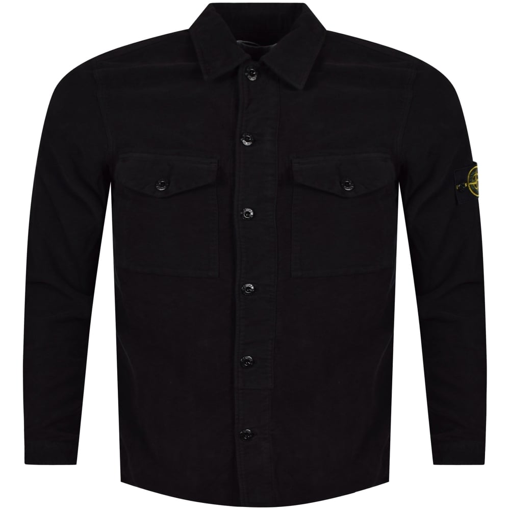 d3242c41d STONE ISLAND Stone Island Black Flannel Compass Shirt - Department ...