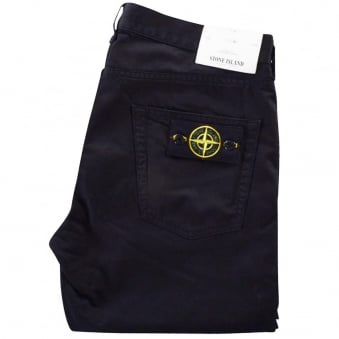 Stone Island Black Slim Fit Chino Trousers