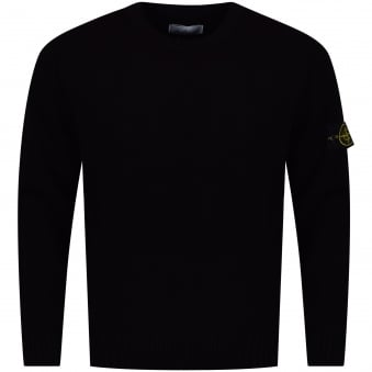 Stone Island Black Wool Knitted Compass Jumper