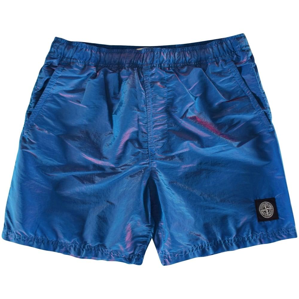 890aa63c27 STONE ISLAND Stone Island Blue/Pink Weft Swim Shorts - Men from ...