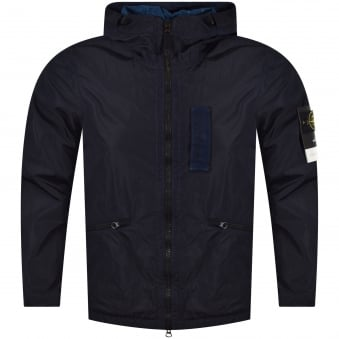 Stone Island Blue Waterproof Hooded Jacket