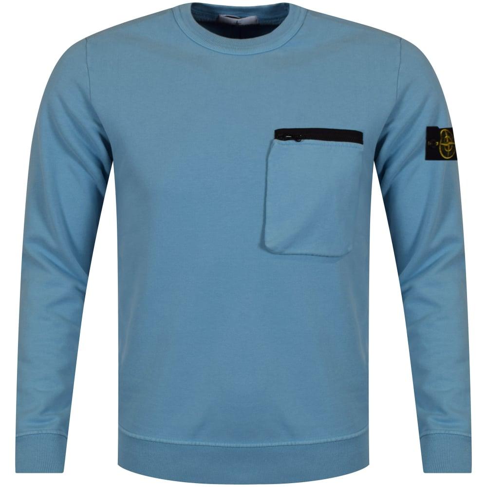 Men Pocket From Island Stone Sweatshirt Zip Blue qZUXpw4