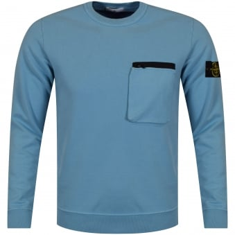 Stone Island Blue Zip Pocket Sweatshirt