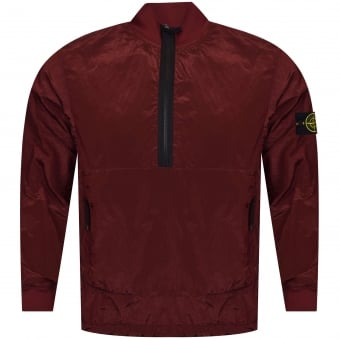 Stone Island Burgundy Quarter Zip Lightweight Jacket
