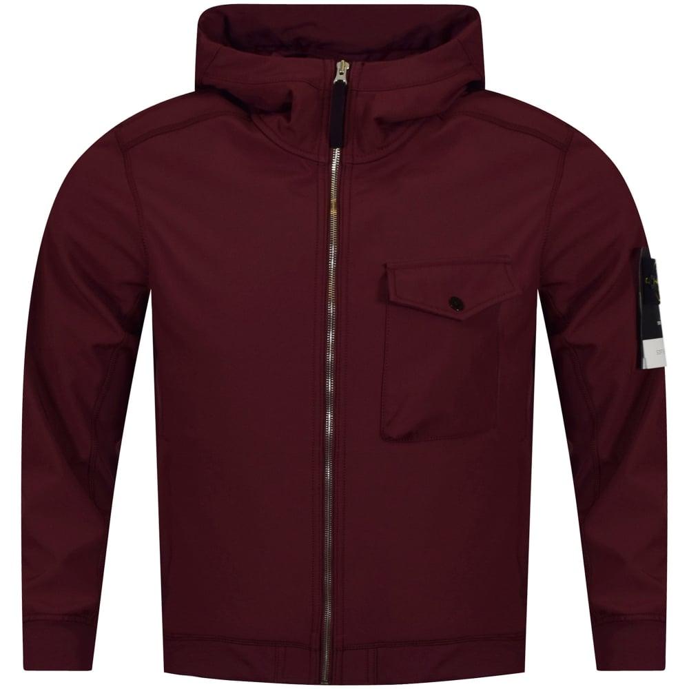 24a2d0e66ab02 STONE ISLAND Stone Island Burgundy Soft Shell-R Jacket - Men from ...