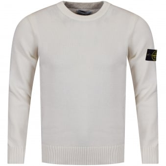 Stone Island Cream Wool Knitted Compass Jumper