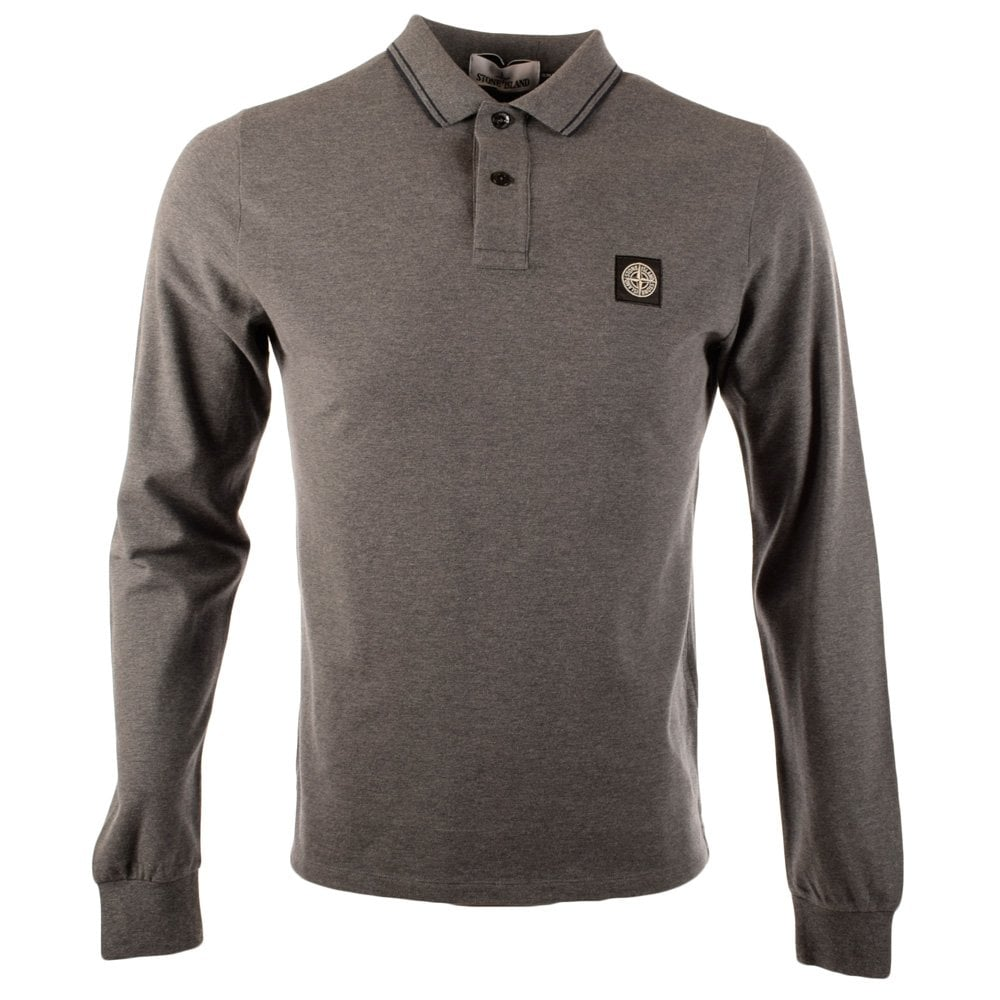 28d01540 STONE ISLAND Stone Island Grey Long Sleeve Slim Fit Compass Polo ...