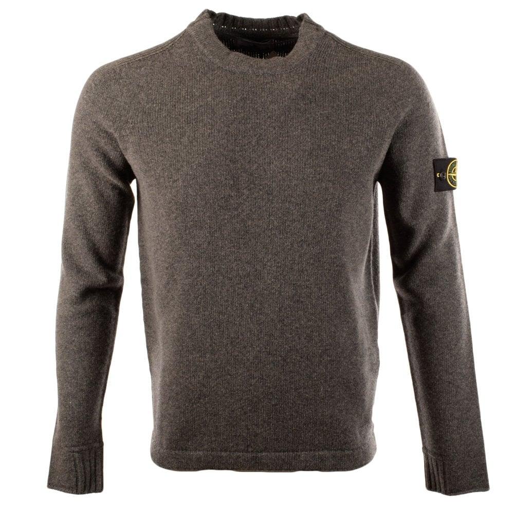 b7a952febe2f STONE ISLAND Stone Island Grey Wool Crew Neck Sweater - Men from ...