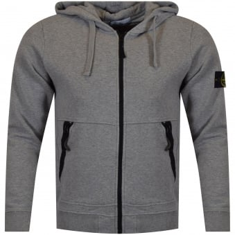 Stone Island Grey Zip Badge Hoodie