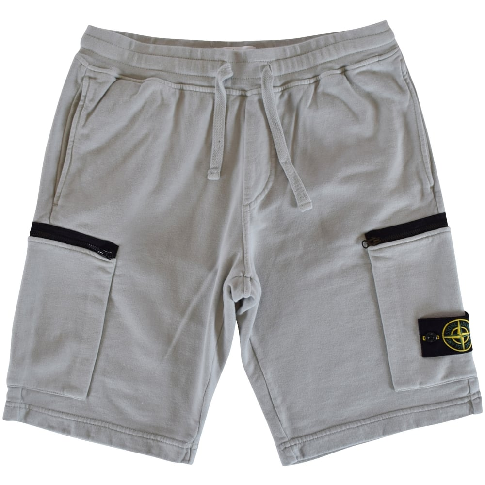 Stone Island Stone Island Grey Zip Pocket Jersey Shorts