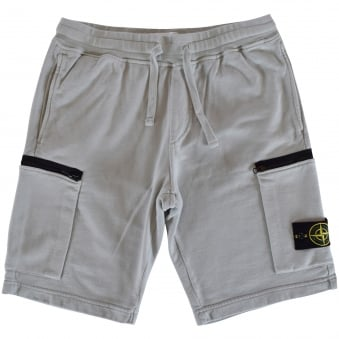 Stone Island Grey Zip Pocket Jersey Shorts