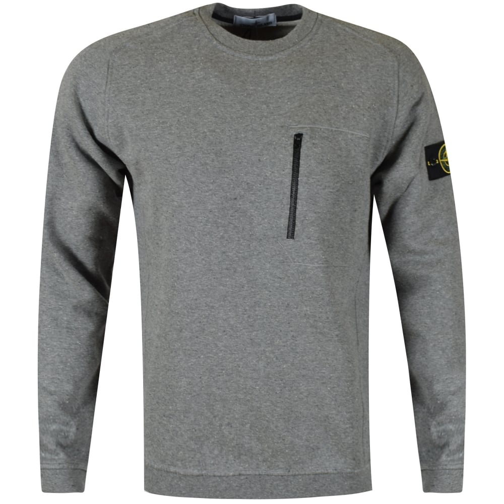 stone island stone island grey zip pocket sweatshirt men. Black Bedroom Furniture Sets. Home Design Ideas