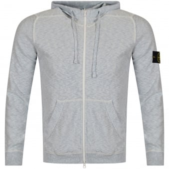 Stone Island Light Blue Badge Zip Through Hoodie
