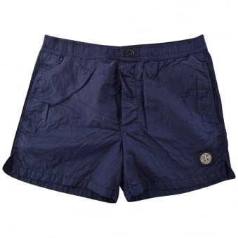 Stone Island Navy Compass Button Up Swim Shorts