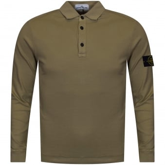 Stone Island Olive Long Sleeve Polo Shirt