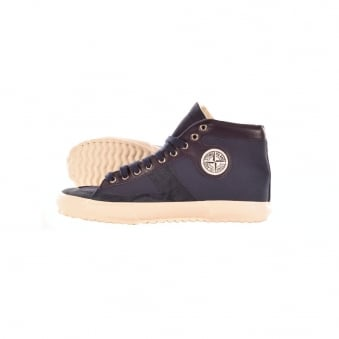 Stone Island Canvas Italian Suede Mix Navy Hightop Trainer