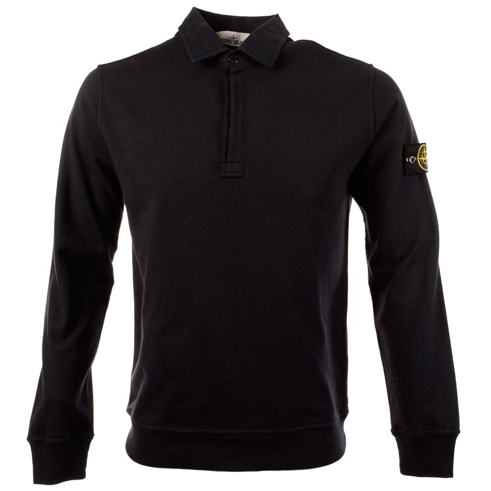 stone island stone island long sleeve navy rugby polo shirt stone island from brother2brother uk. Black Bedroom Furniture Sets. Home Design Ideas