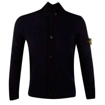 Stone Island Navy Button Through Knitted Compass Jumper