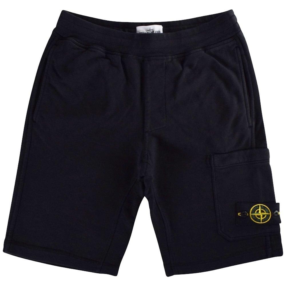 stone island stone island washed black jogger shorts. Black Bedroom Furniture Sets. Home Design Ideas