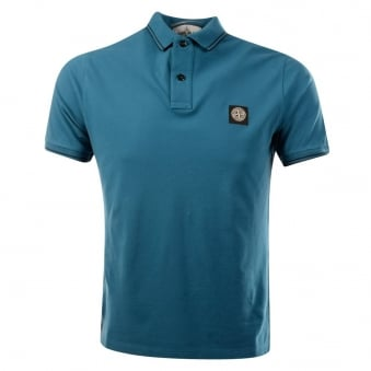 Stone Island Teal Slim Fit Short Sleeve Polo