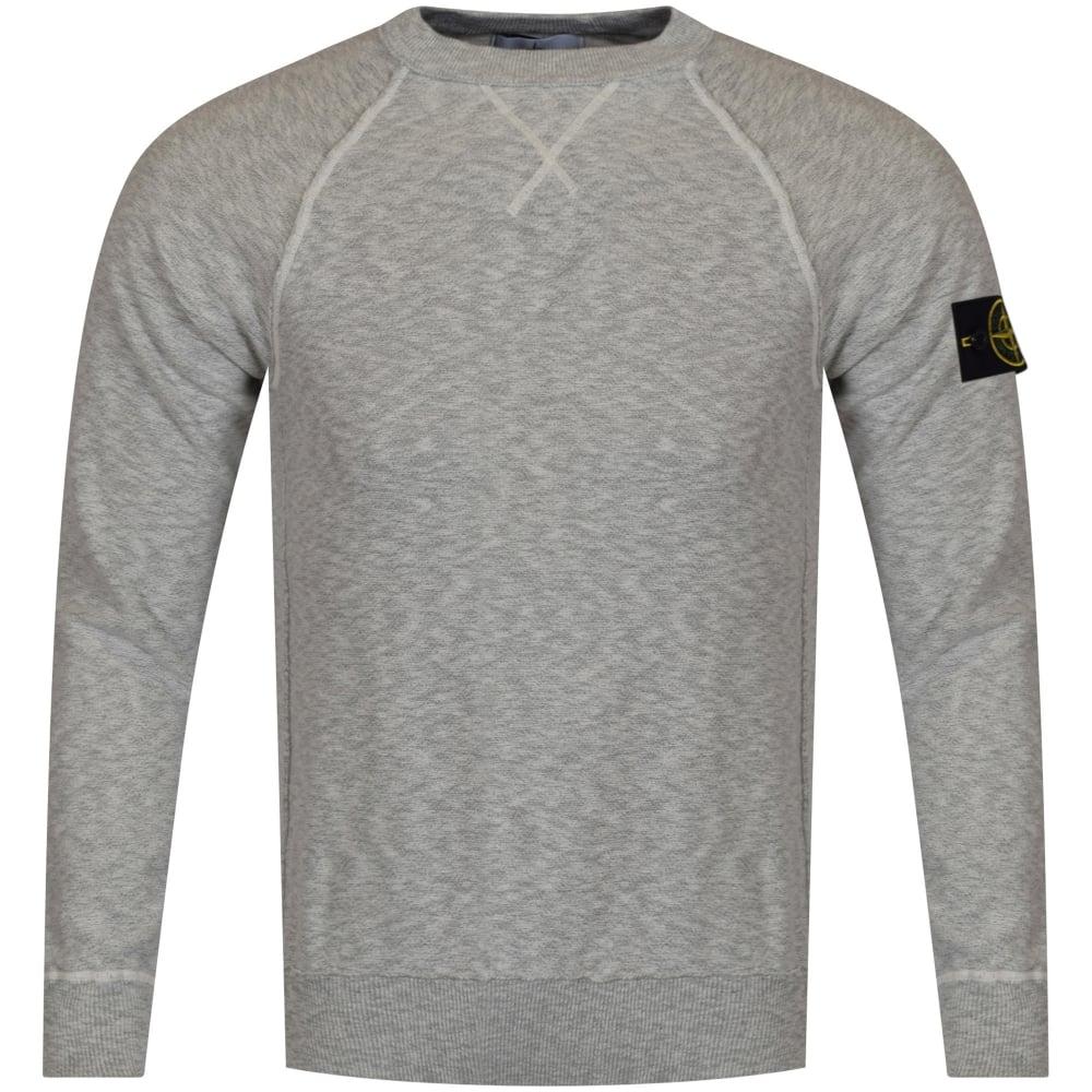 stone island stone island thin grey badge sweatshirt men. Black Bedroom Furniture Sets. Home Design Ideas