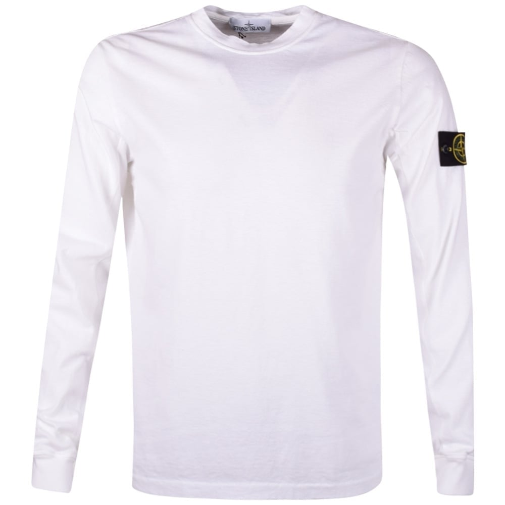 STONE ISLAND Stone Island White Badge Long Sleeve T-Shirt - Men from ... 0456e74ca03