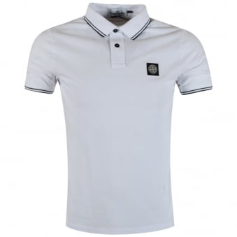 Stone Island White Compass Polo Shirt
