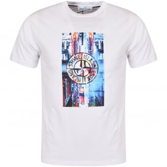 Stone Island White Digital Print T-Shirt