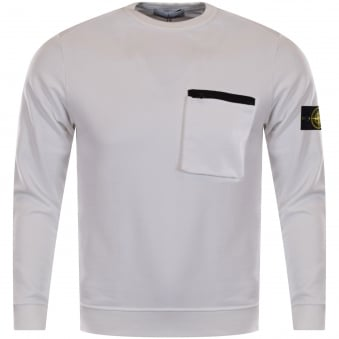 Stone Island White Zip Pocket Sweatshirt