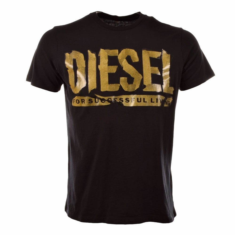 Black t shirt with print - Diesel T Alin Black Tshirt With Gold Print