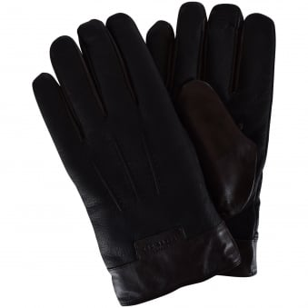 Ted Baker Black Leather Logo Gloves