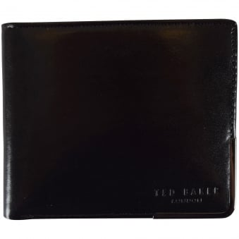 Ted Baker Black Metal Edge Logo Wallet