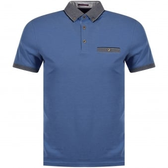 Ted Baker Blue Contrast Knitted Pocket Polo Shirt
