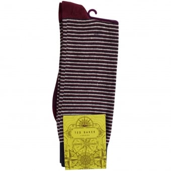 Ted Baker Burgundy Striped Contrast Socks