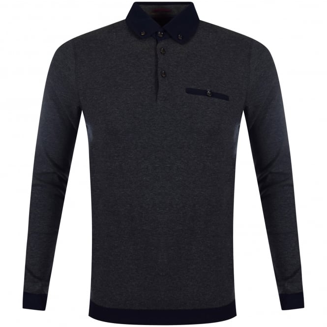 TED BAKER Charcoal Contrast Longsleeve Polo Shirt