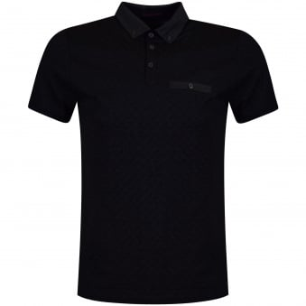Ted Baker Charcoal Jacquard Contrast Polo Shirt