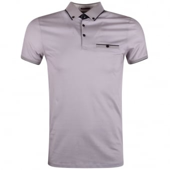Ted Baker Grey Geo Print Pocket Polo Shirt