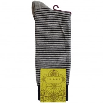 Ted Baker Grey Striped Contrast Socks
