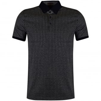 Ted Baker Navy & Grey Contrast Jacquard Polo Shirt