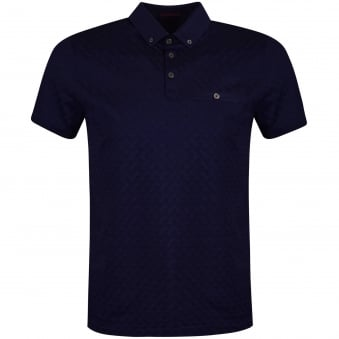 Ted Baker Navy Jacquard Contrast Polo Shirt