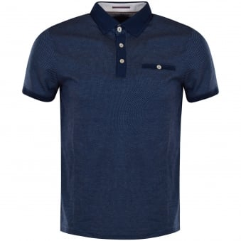 Ted Baker Navy Jacquard Trim Pocket Polo Shirt