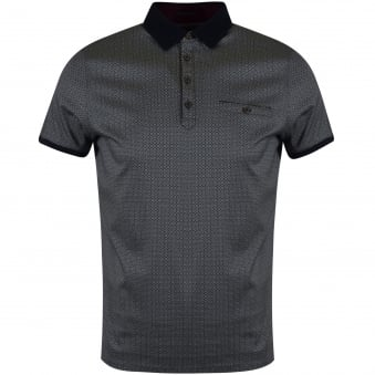 Ted Baker Navy Print Polo Shirt