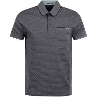 Ted Baker Oxford Blue Jacquard Polo Shirt
