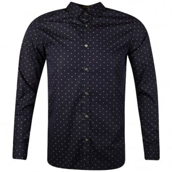 Ted Baker Navy All Over Print Long Sleeve Shirt